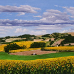"""Roussillon Hills     200815"""" x 45"""" oil on plywood panel"""