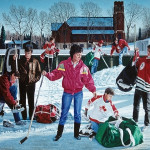 "Our Lady of Perpetual Hockey     1992		36"" x 60"" 	oil on canvas"