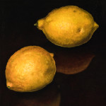 "Two Lemons A     1999		12"" x 12"" oil on plywood panel"