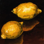 "Two Lemons B     1999		12"" x 12"" oil on canvas"