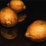 "Three Lemons A     1999		9"" x 12"" 	oil on plywood panel"