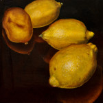 "Four Lemons A     1999		12"" x 12"" 	oil on plywood panel"