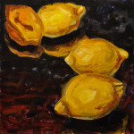 "Four Lemons B     1999		12"" x 12"" 	oil on canvas"