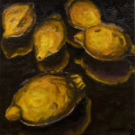 "Five Lemons B     1999		12"" x 12"" 	oil on canvas"