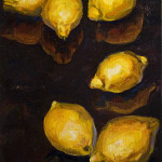 "Six Lemons B     1999       12"" x 9""    oil on canvas"