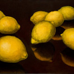 "Eight Lemons A    1999		12"" x 18"" 	oil on plywood panel"