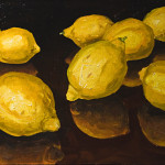 "Eight Lemons B     1999		12"" x 18"" 	oil on plywood panel"